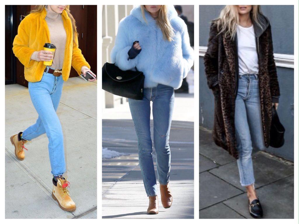 шуба с голубыми джинсами