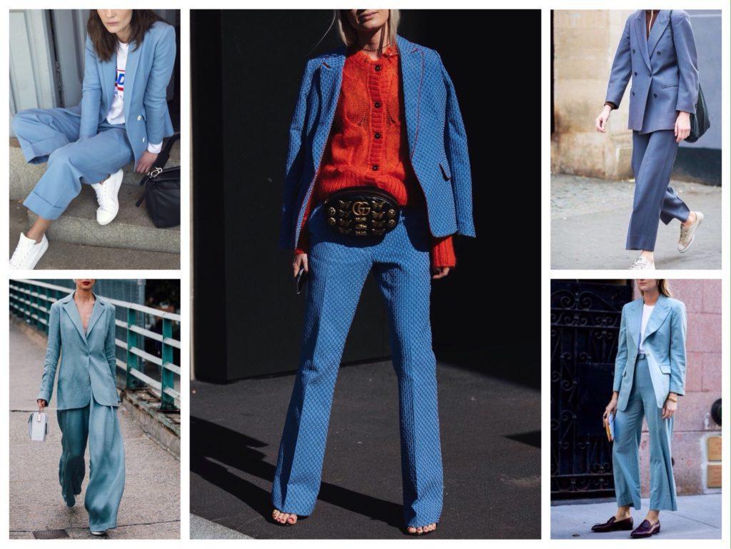 вариации голубых брючных костюмов