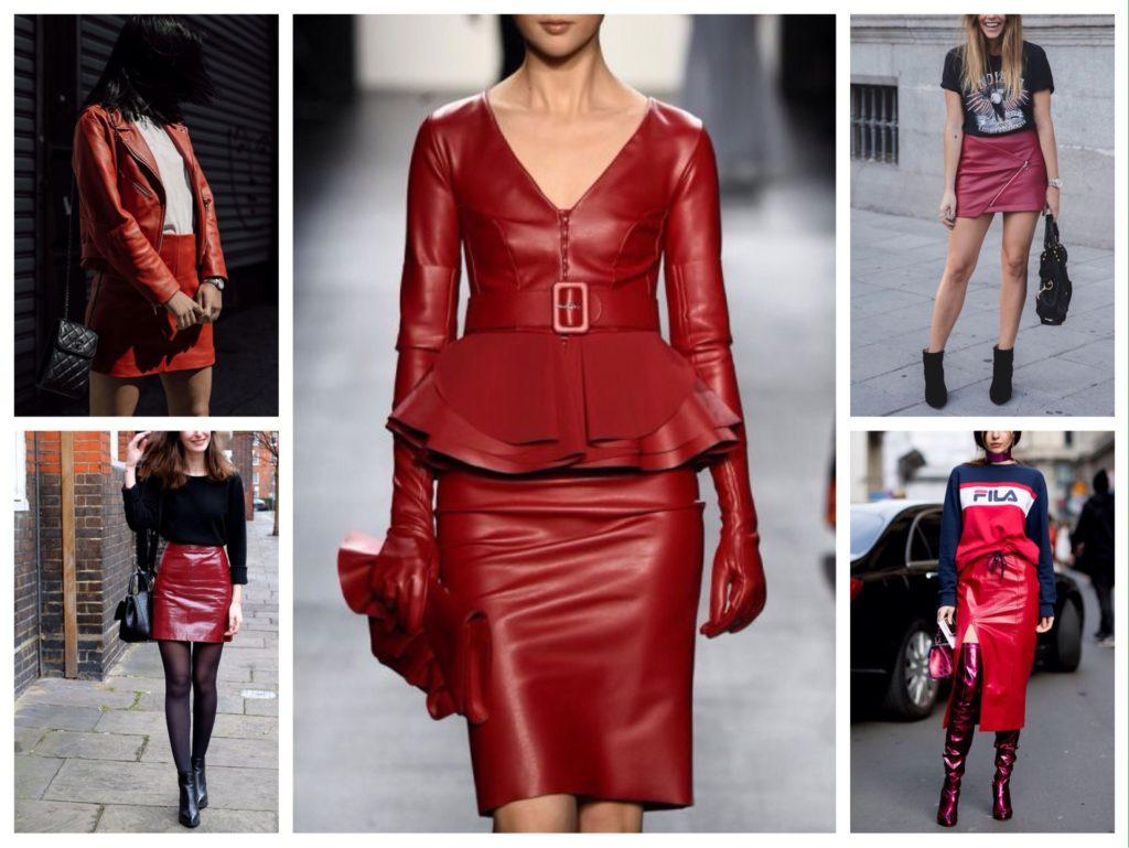 комплекты с красной кожаной юбкой