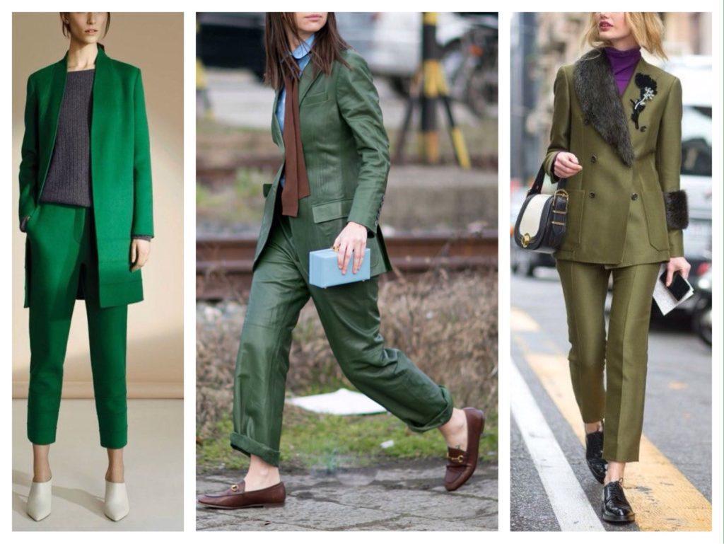 зеленые брючные костюмы