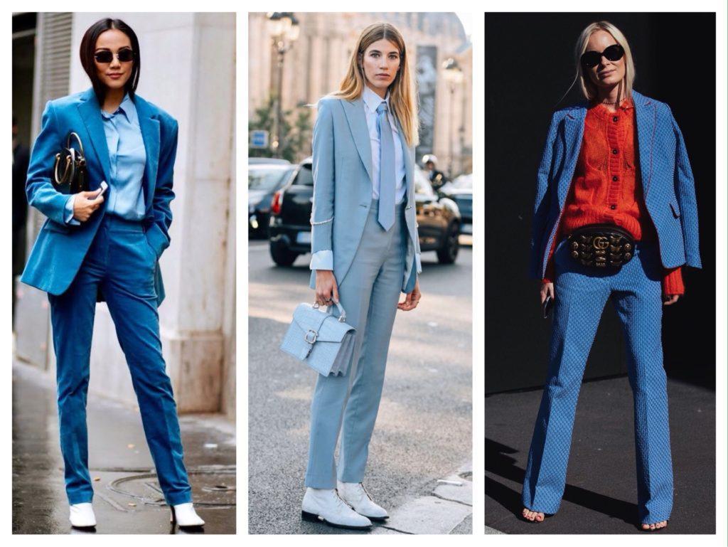 яркие и нежные голубые женские костюмы