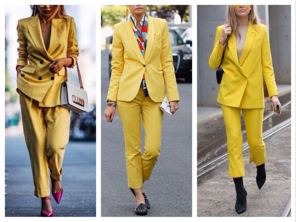 желтые модели костюмов