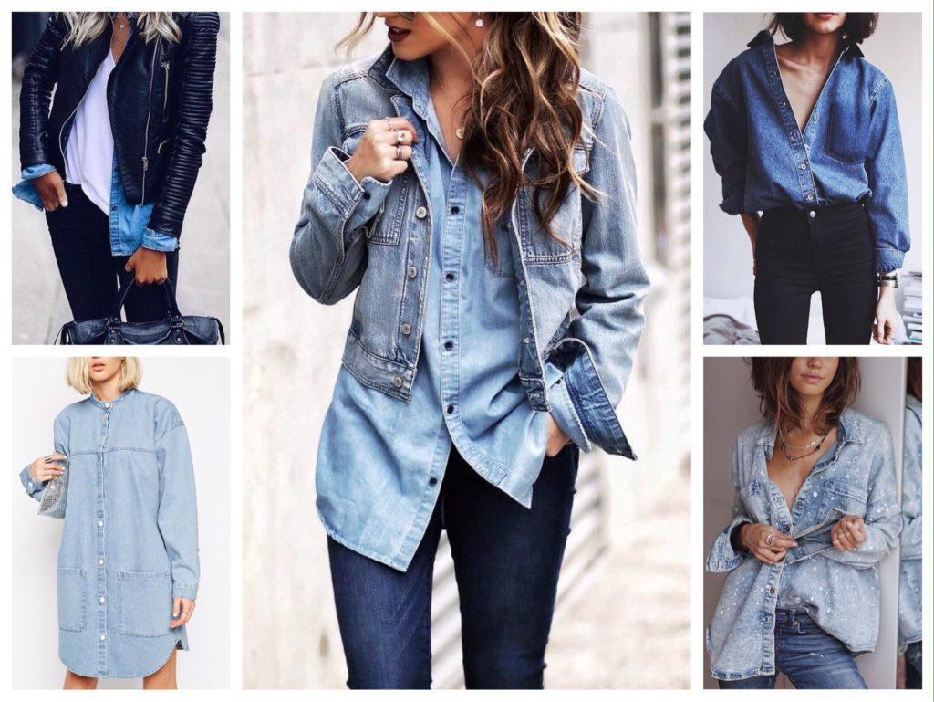 как носить джинсовую рубашку фото