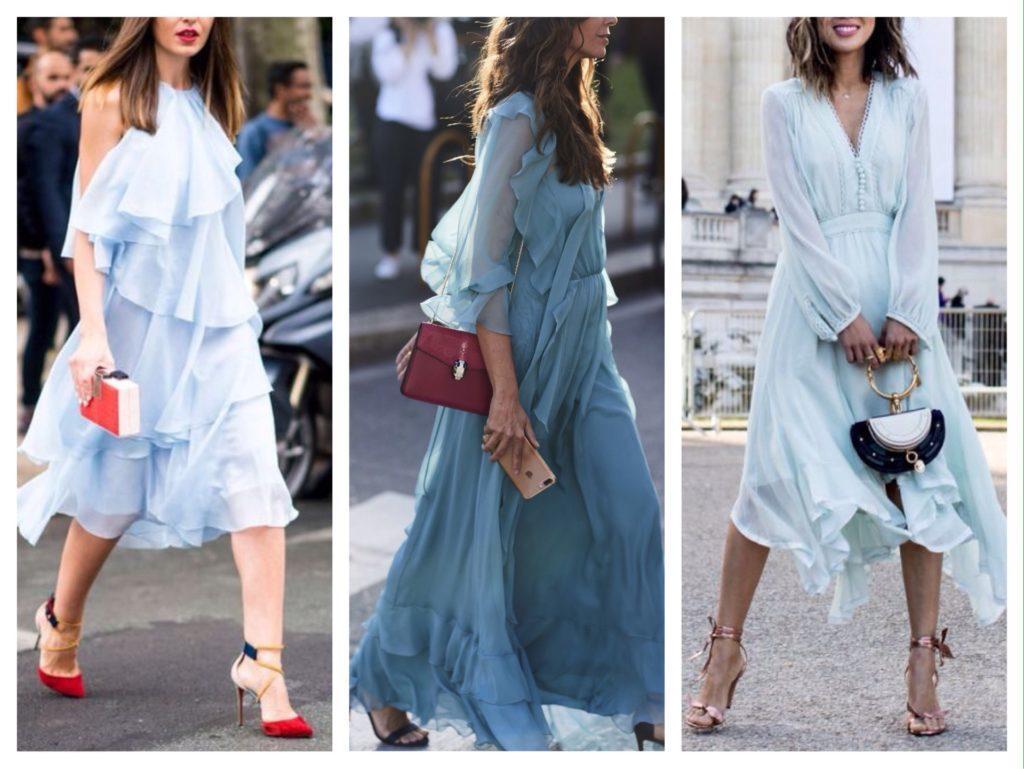 нежно голубое платье фото