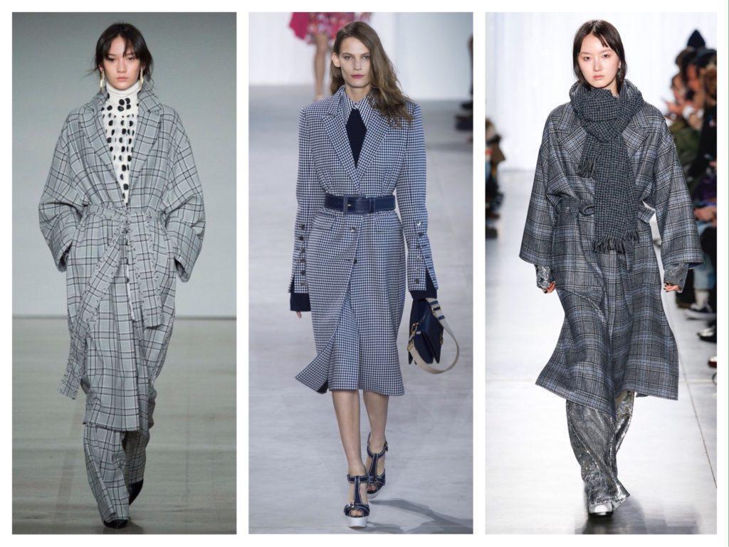 образы пальто в черно белой гамме с подиумов