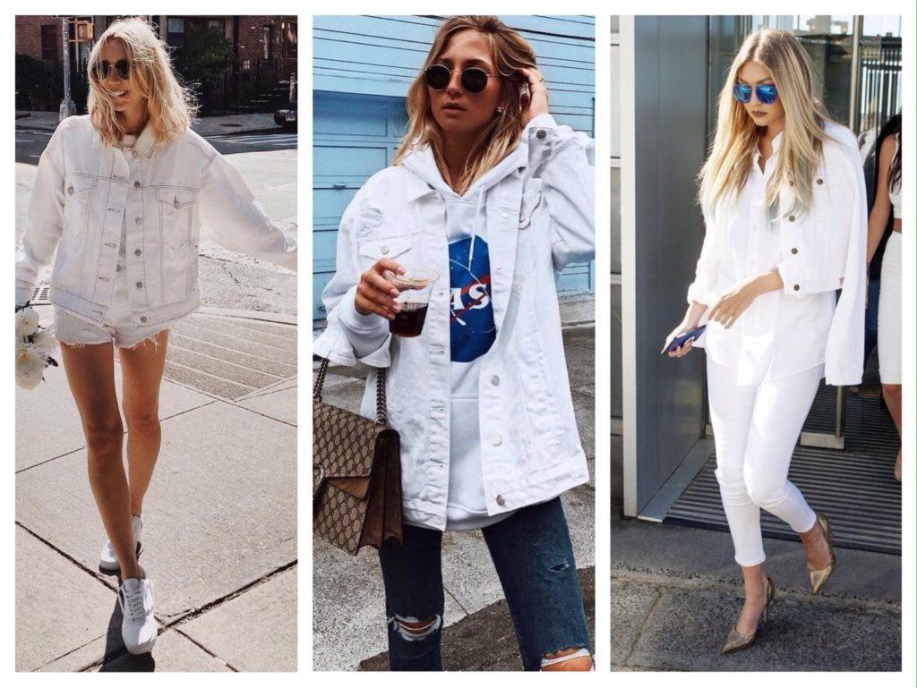 белая джинсовая куртка фото