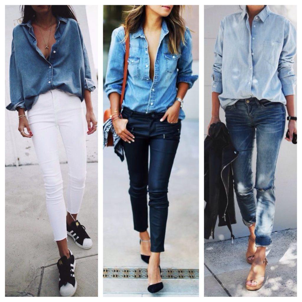 рубашка с джинсами скинни