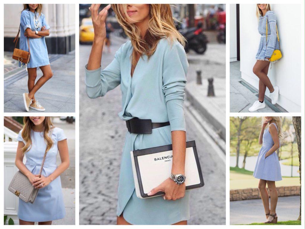 сумка к голубому платью