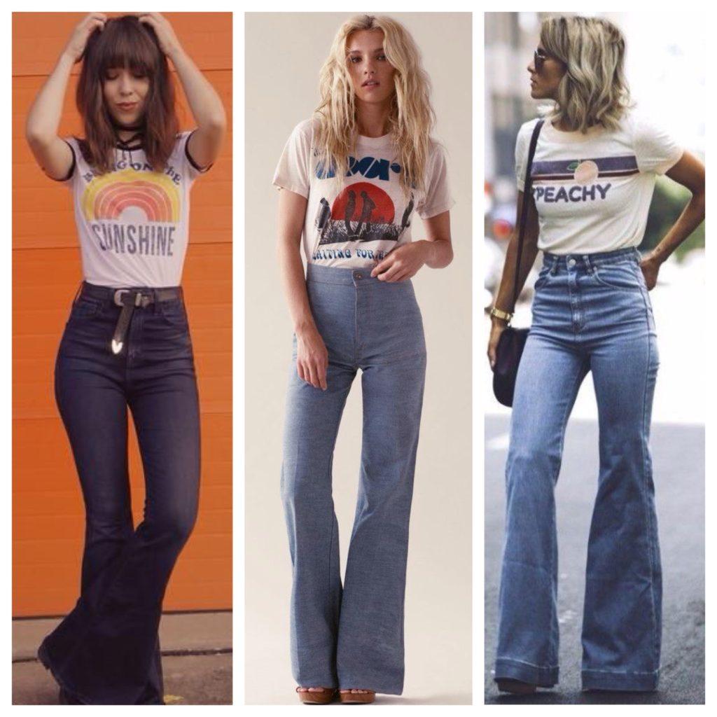 джинсы клеш образы 70х