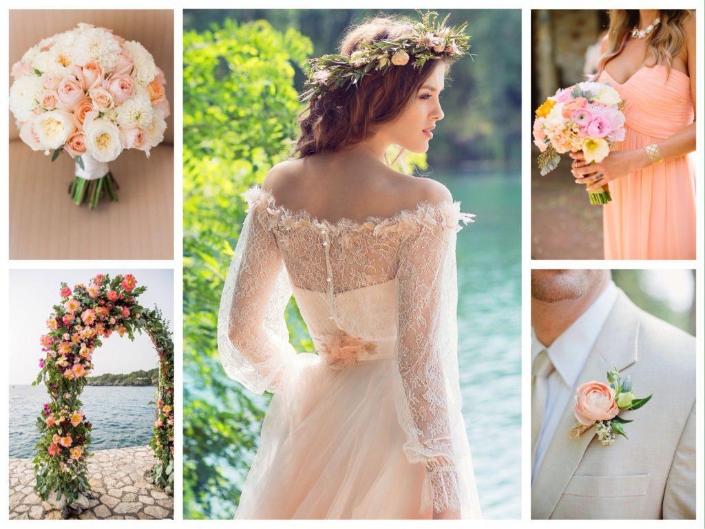 оформление свадьбы в персиковых тонах