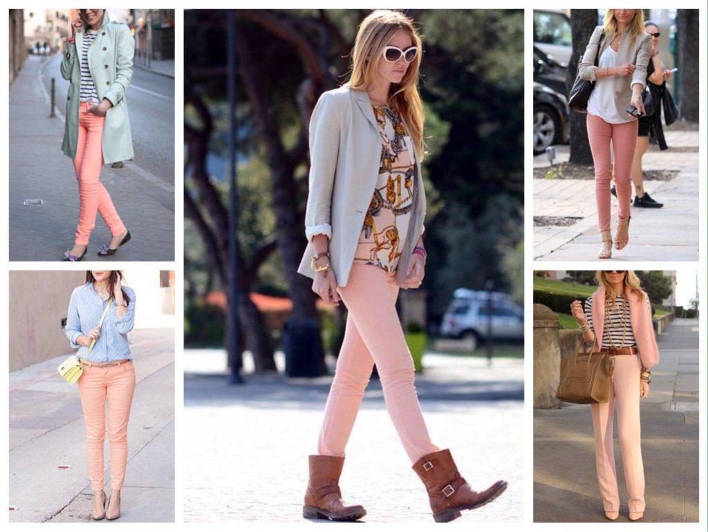 персиковые джинсы и брюки