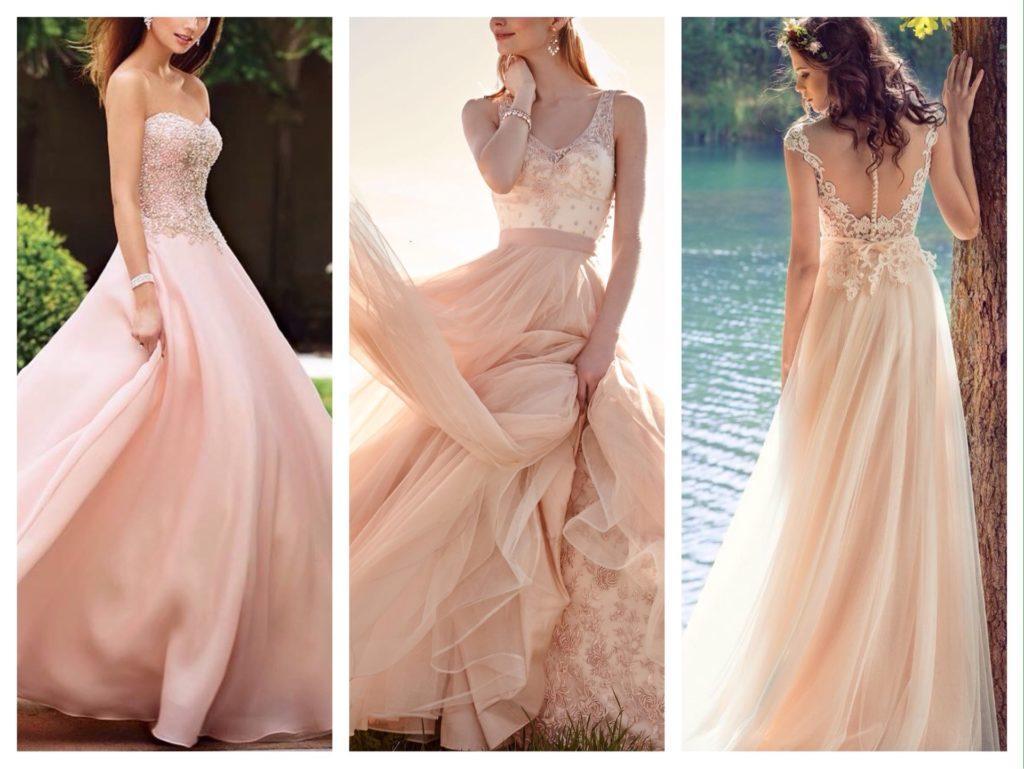 персиковые свадебные платья