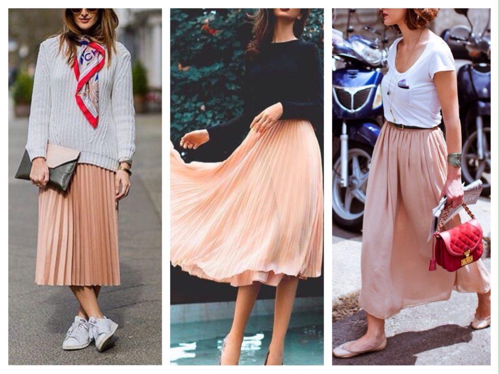 с чем носить персиковую юбку