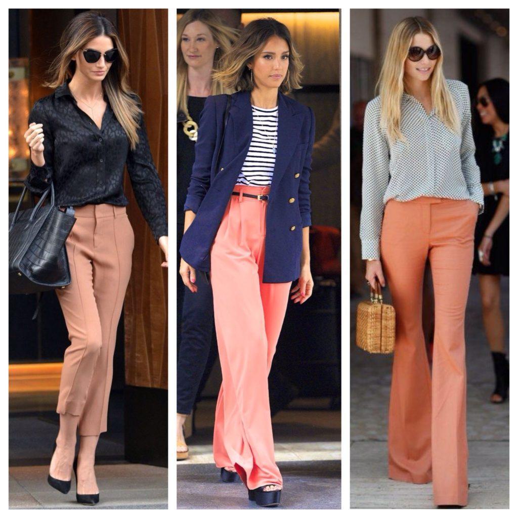 с чем носить персиковые брюки