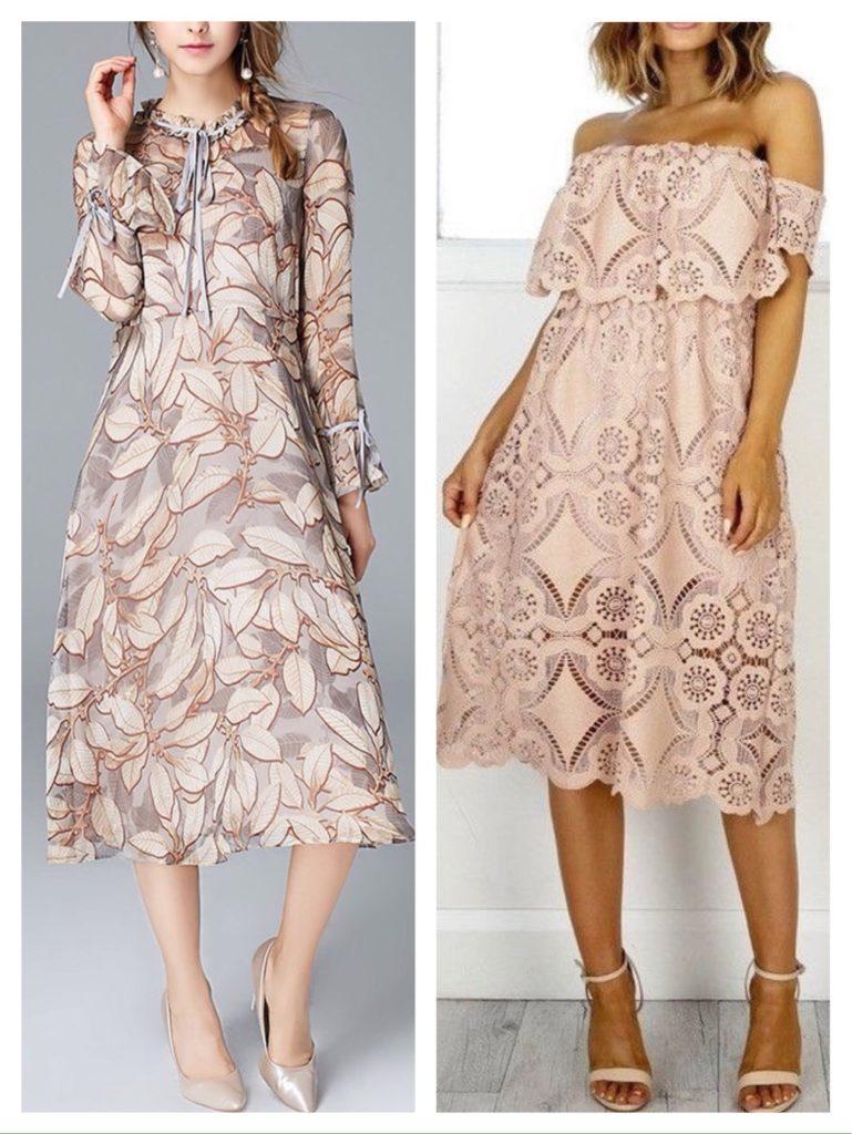 кружево и принт в платьях