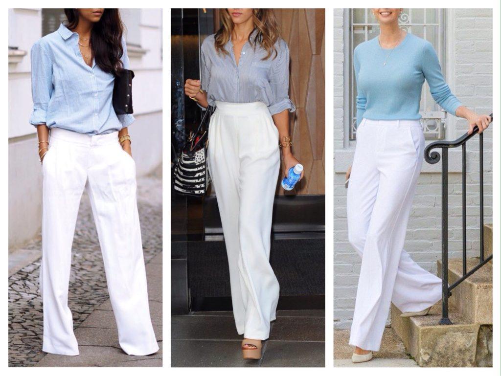 белые брюки в повседневных образах