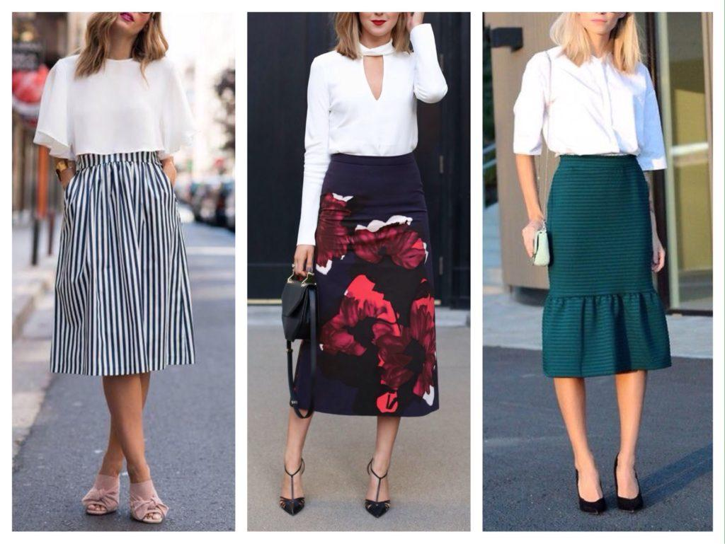 белые топы и блузы с юбкой