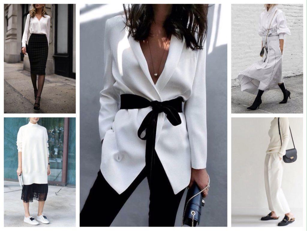 белый с черным в одежде