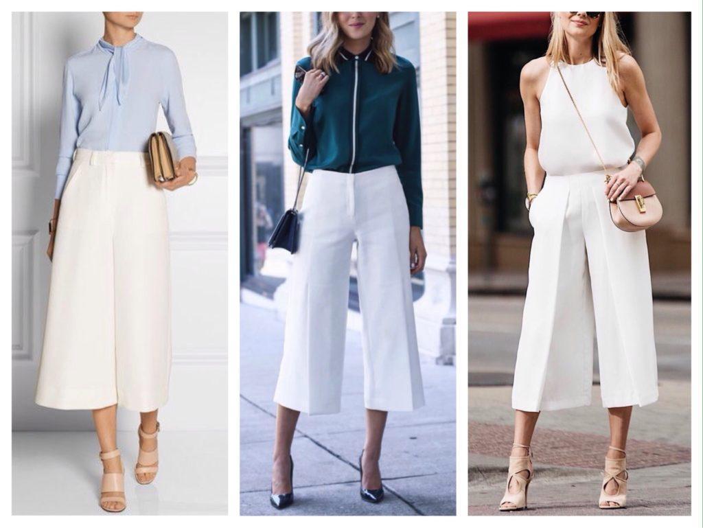 деловые комплекты с белыми укороченными брюками