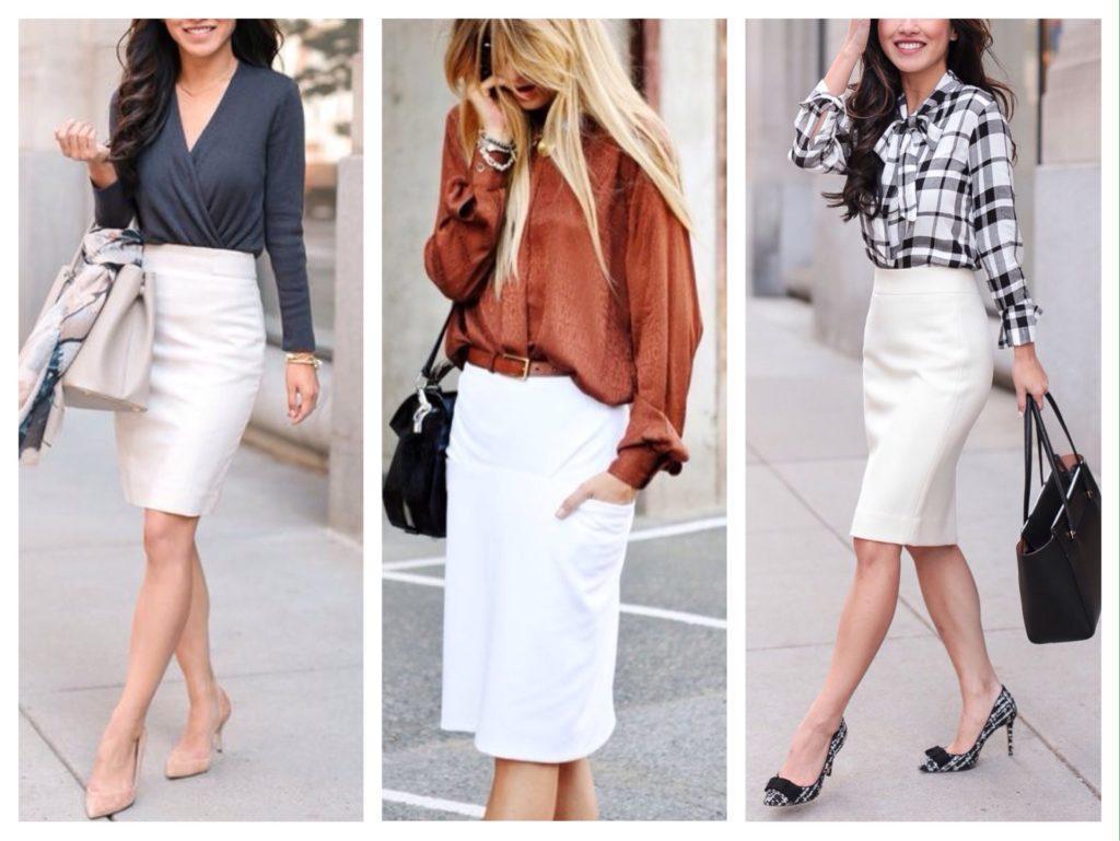 что носить с белой юбкой