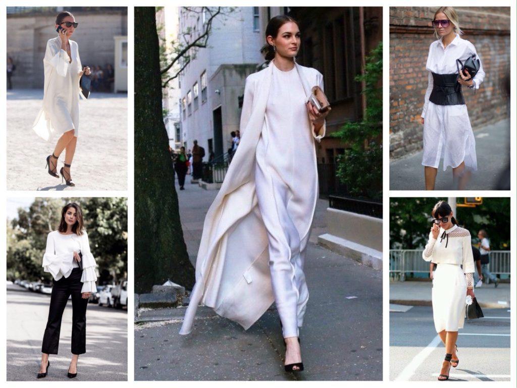 холодные белые оттенки в одежде и образах