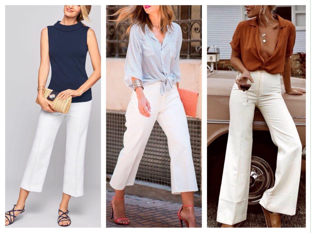 комплекты с укороченными белыми брюками