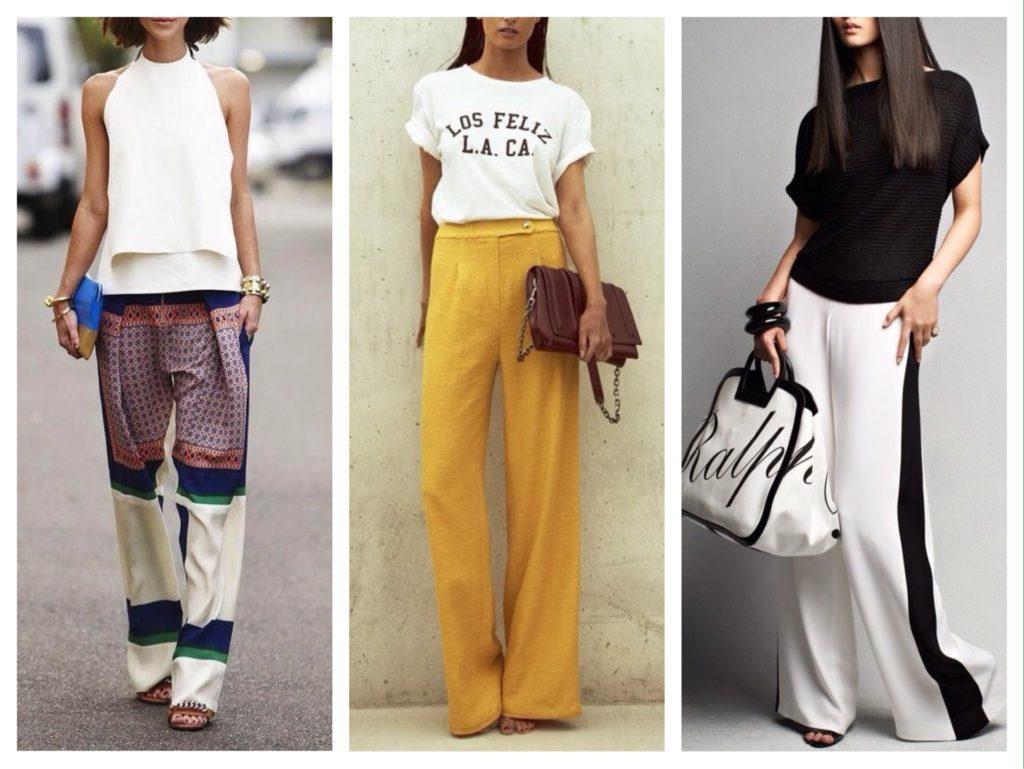 летние городские комплекты с широкими брюками
