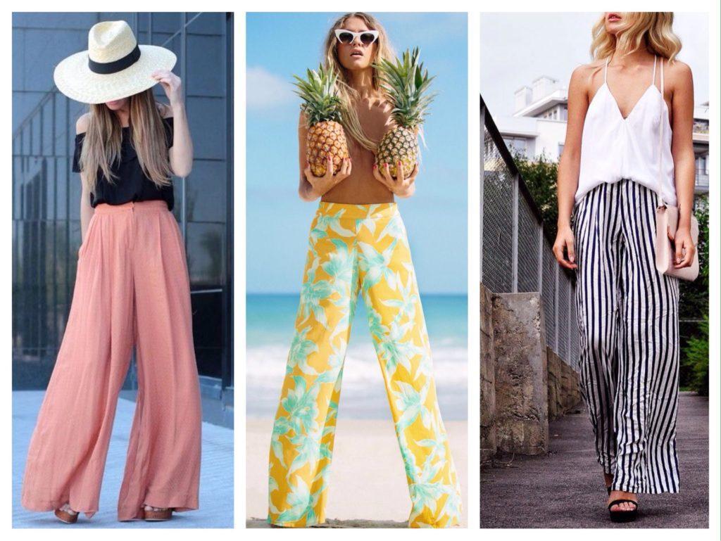 летние образы с широкими брюками