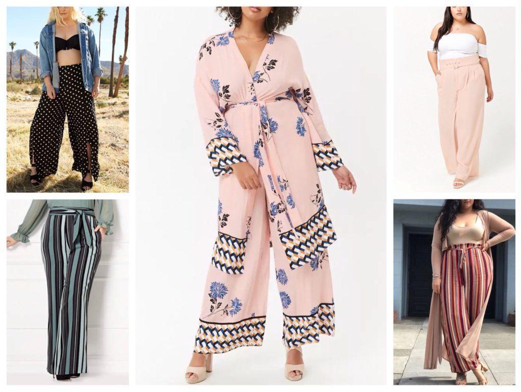 образы с брюками палаццо для полных девушек