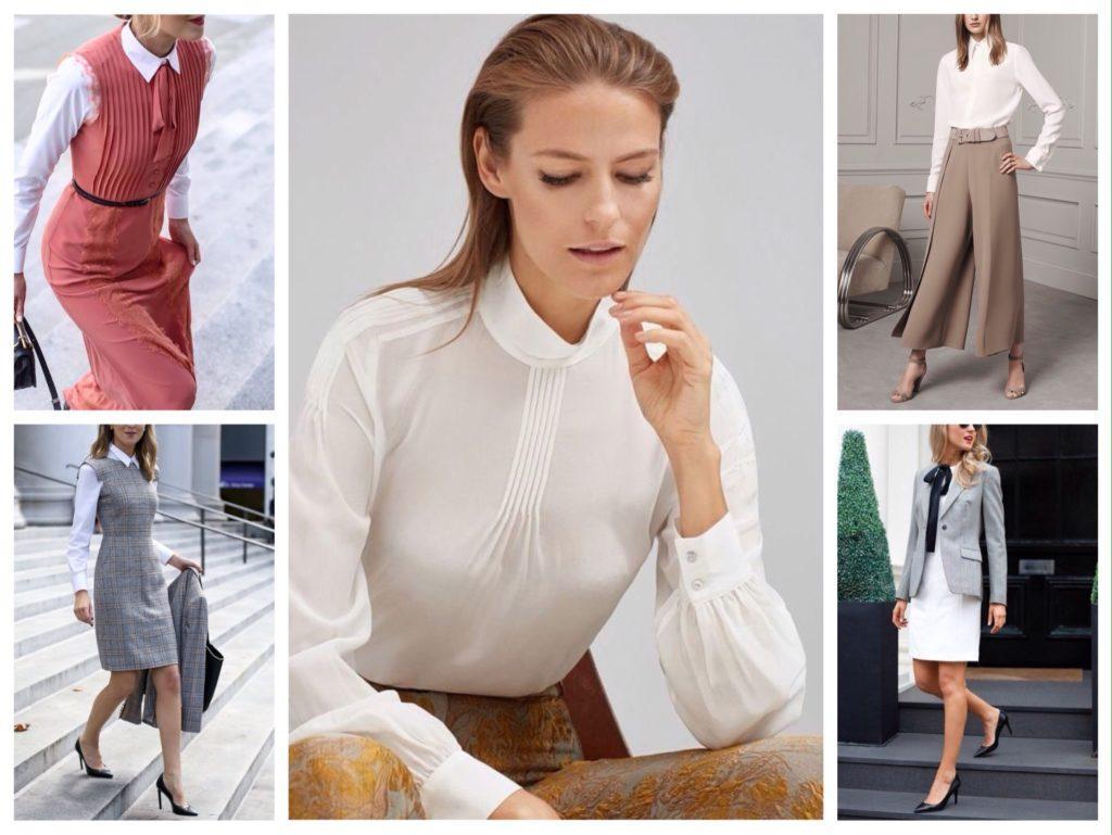 шелковая белая блуза фото комплектов