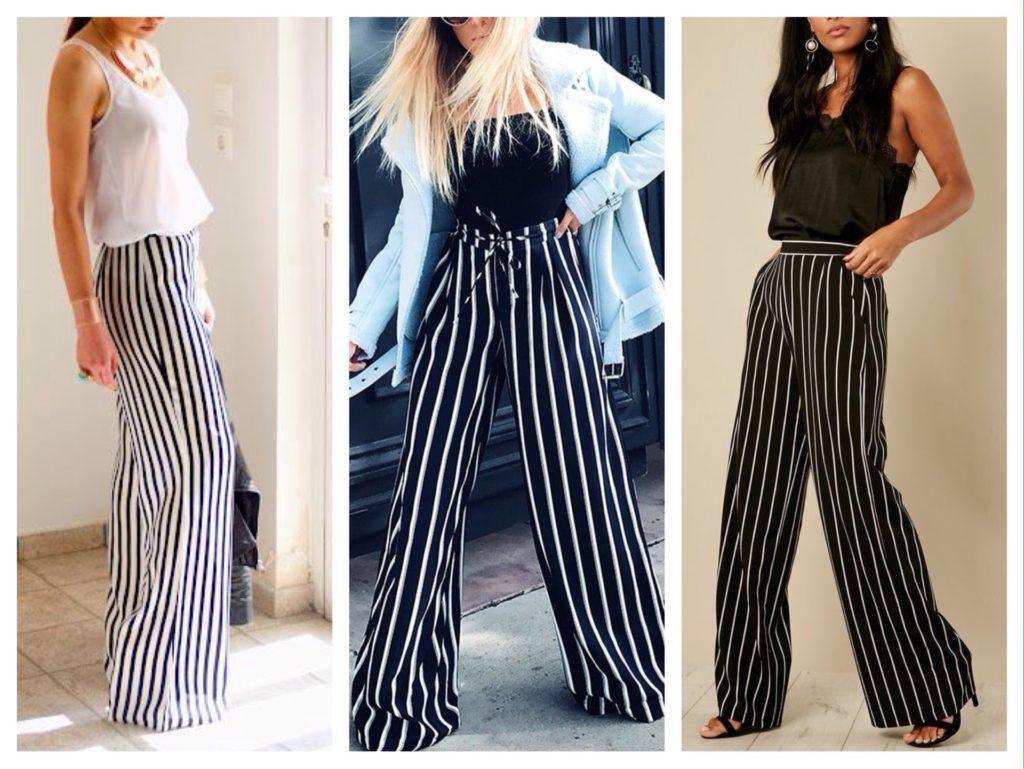 широкие брюки в черно-белую полоску