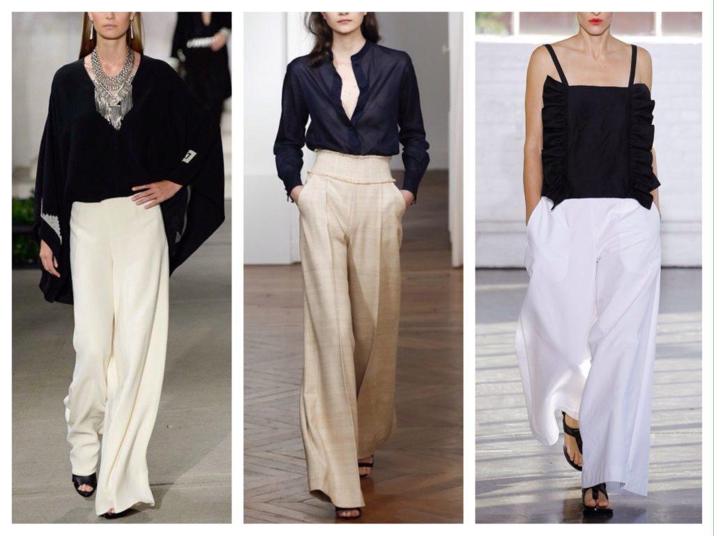 широкие струящиеся брюки в модных коллекциях
