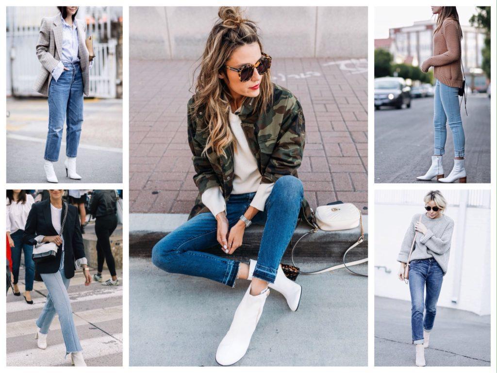белая обувь с джинсами