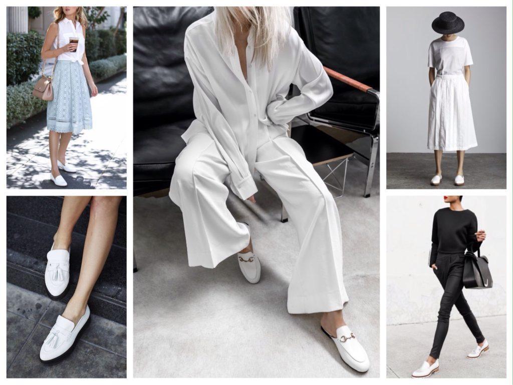 белые туфли на плоском ходу
