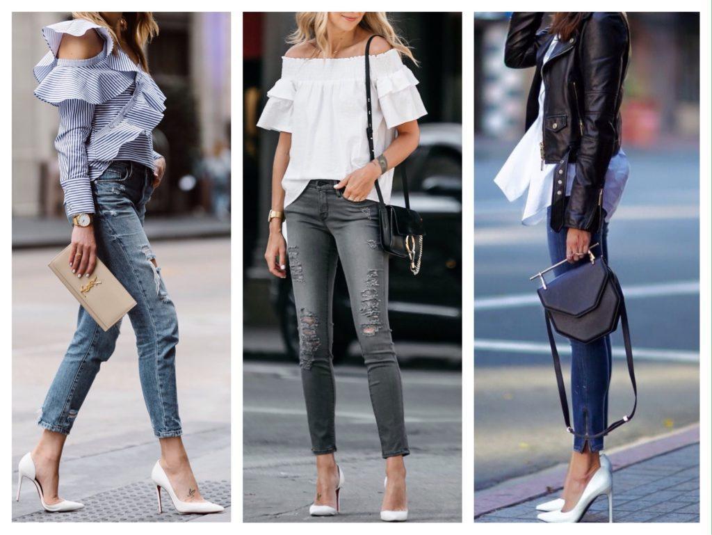 джинсы и белые туфли