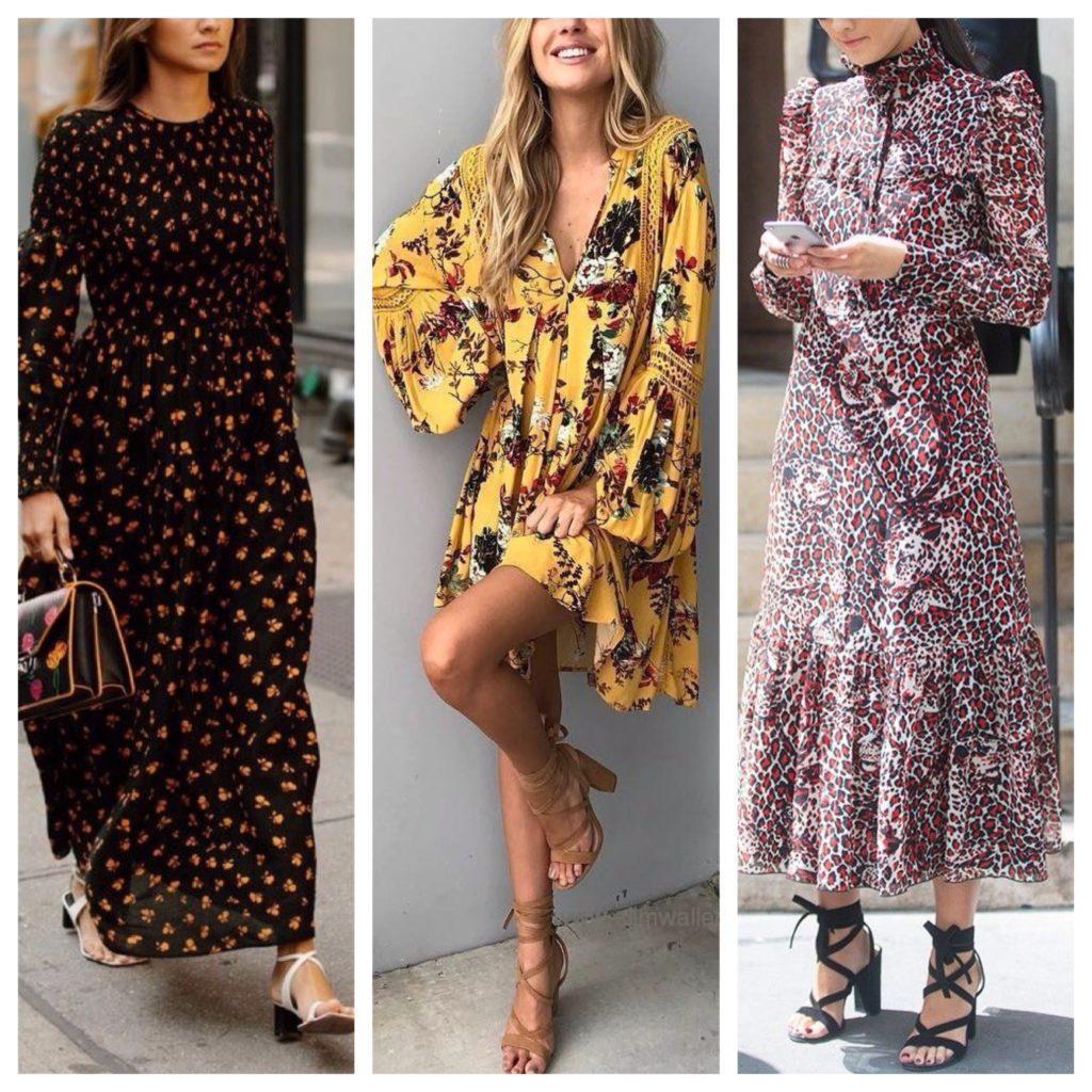 босоножки с платьем в цветочный принт