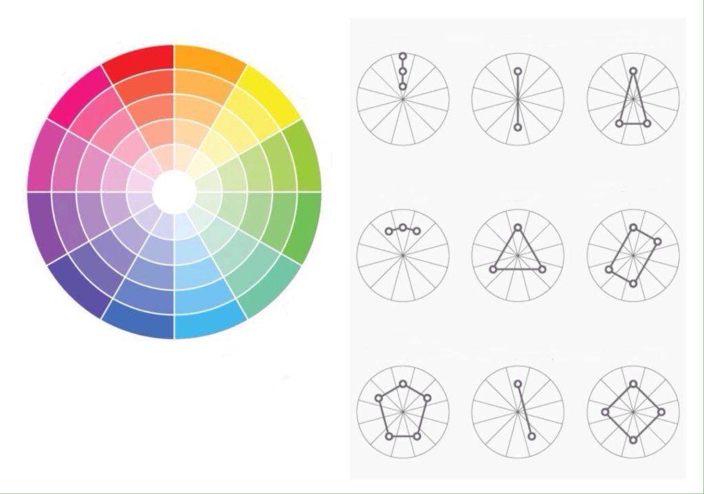 цветовой круг и схемы сочетаний цветов