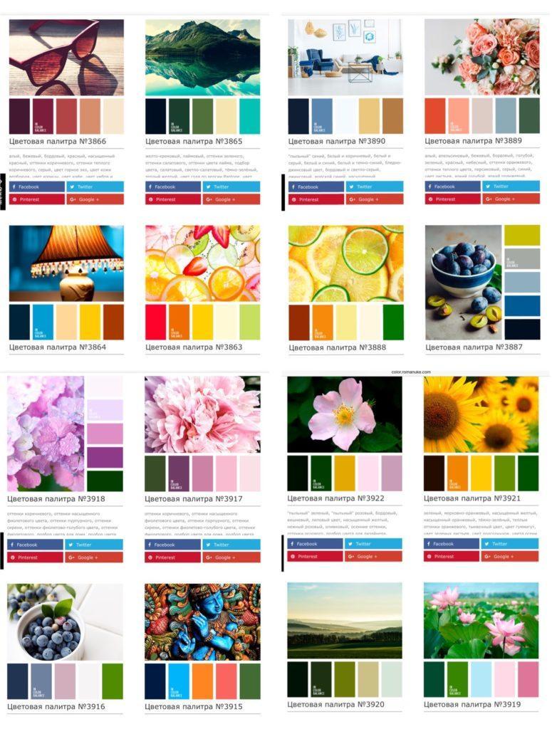варианты палитр сочетания цветов