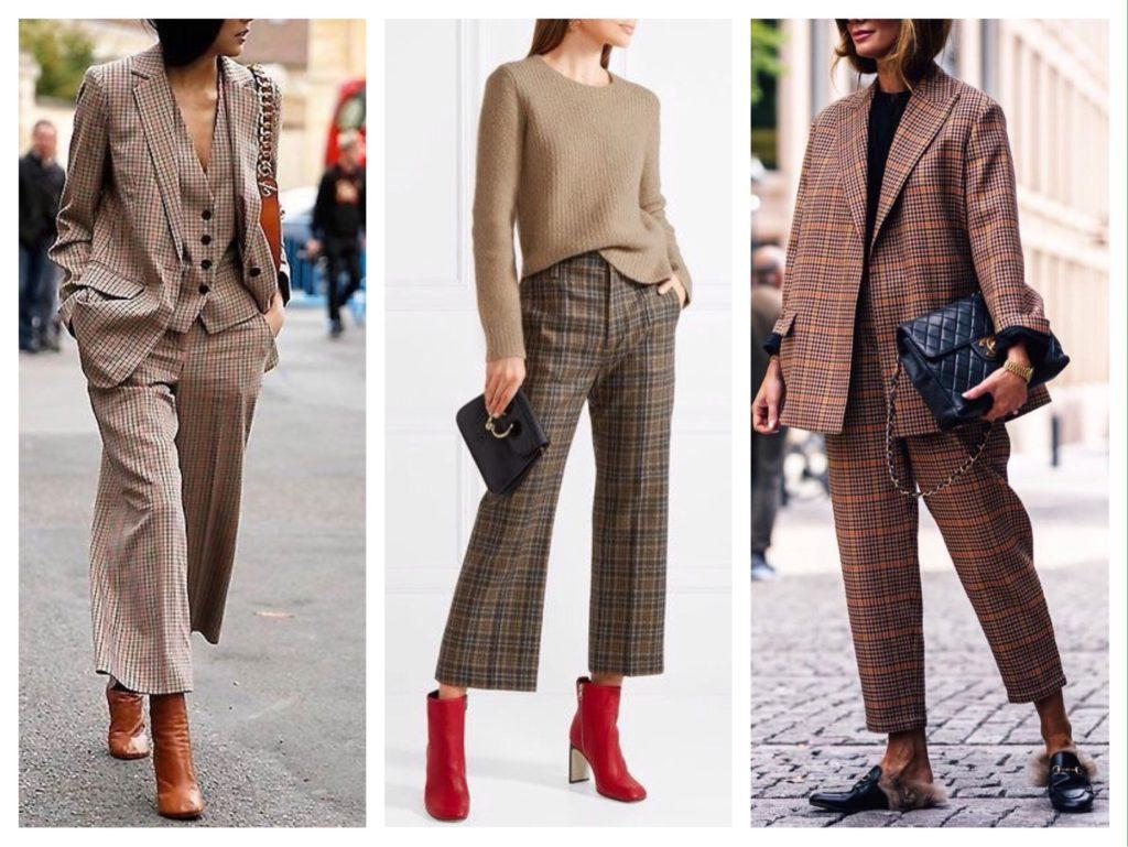 коричневые клетчатые брюки образы