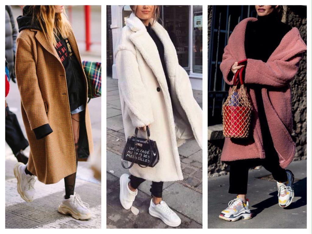 пальто с кроссовками зимой