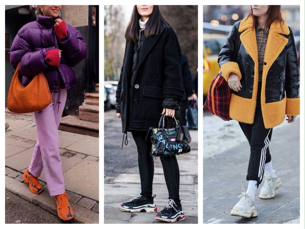зимние образы с кроссовками