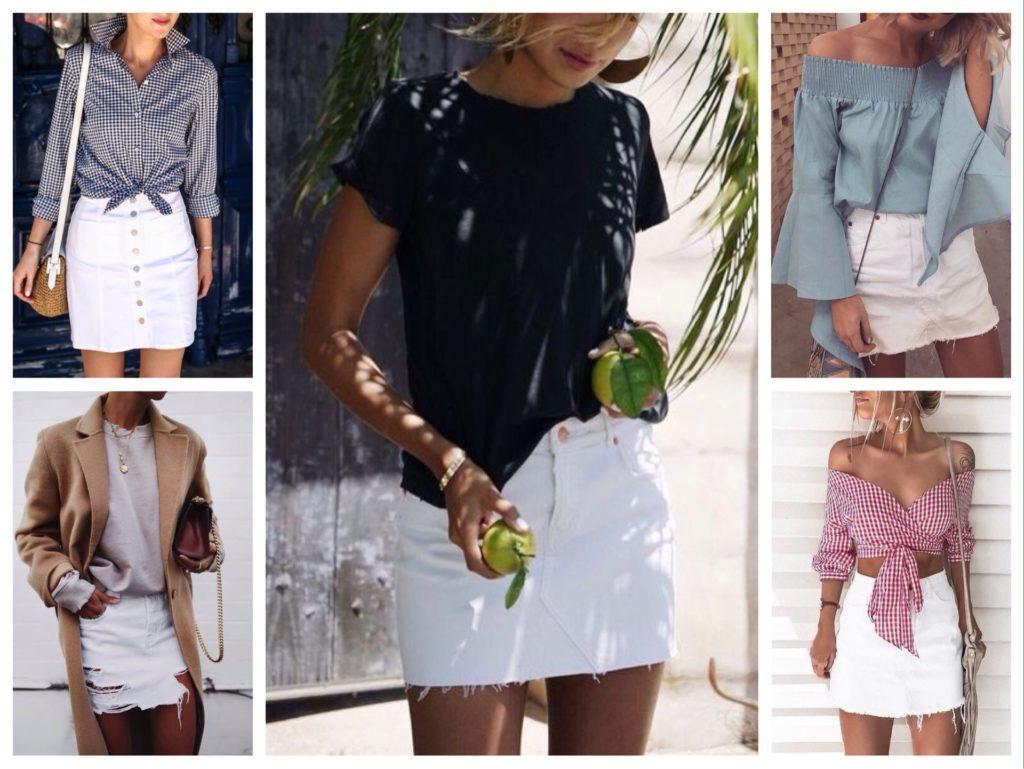 белая джинсовая юбка фото