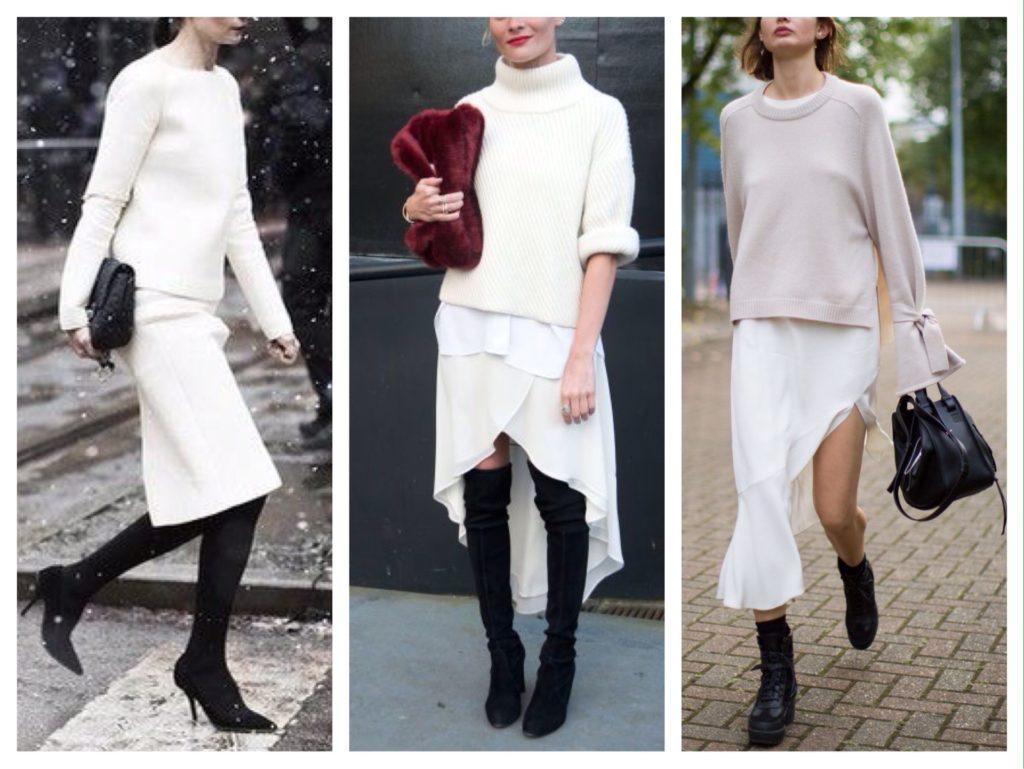 белая юбка и обувь