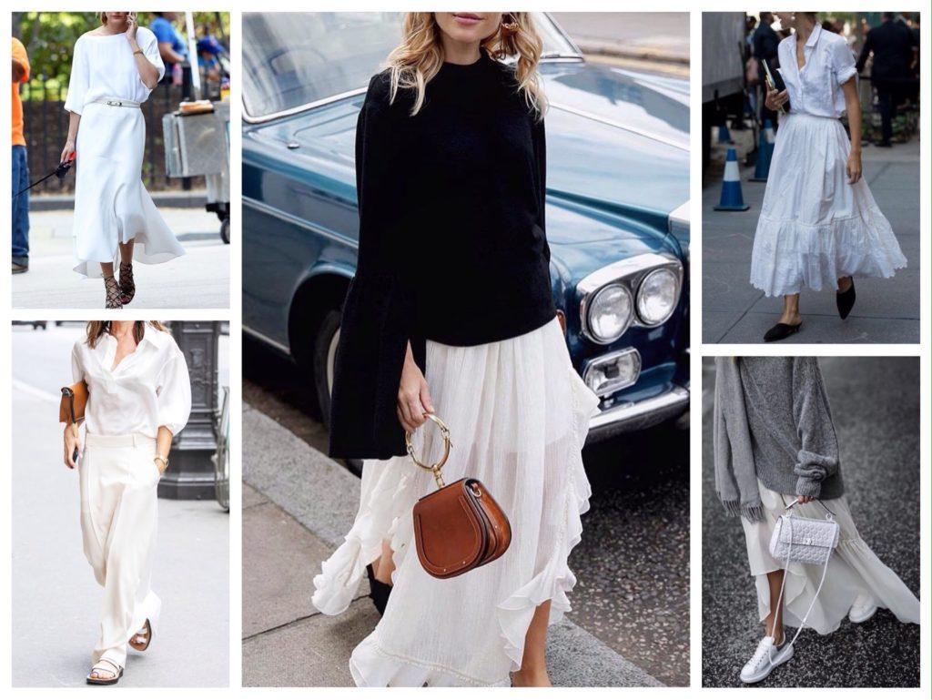 белая юбка макси