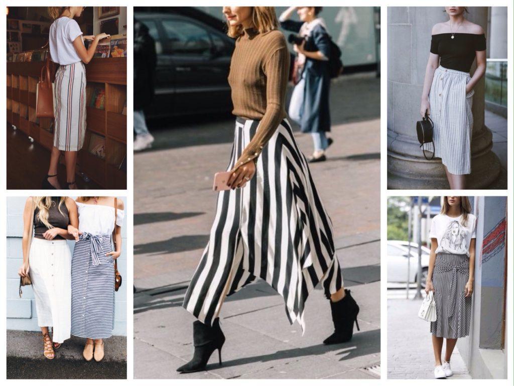 белая юбка в полоску