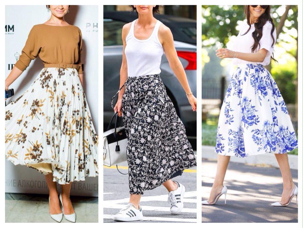 белая юбка в цветок