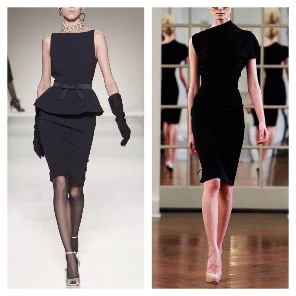 черные платья модель футляр подиумы