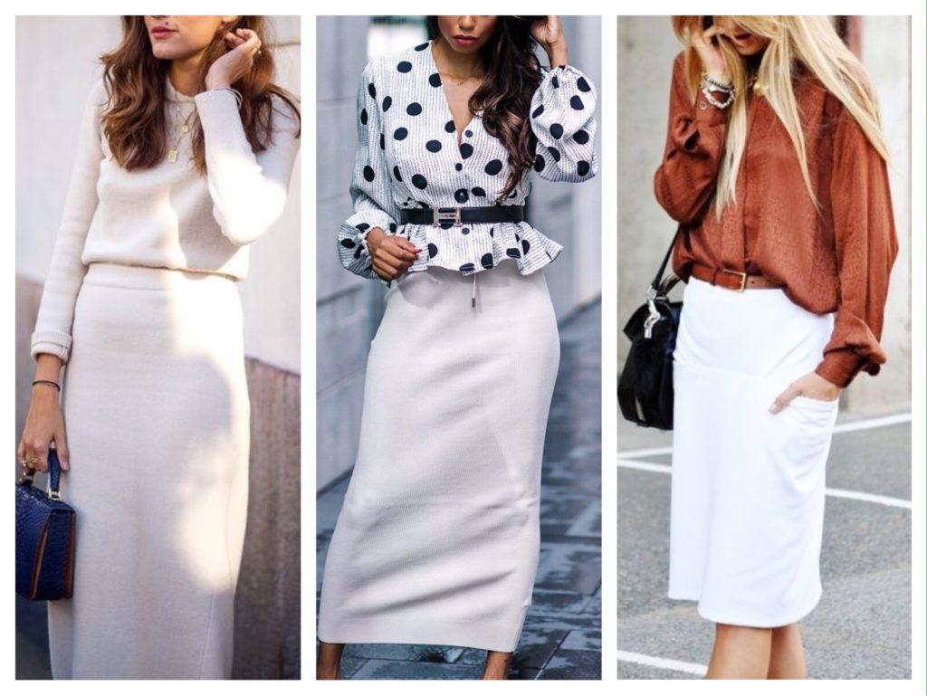 деловые образы с белой юбкой