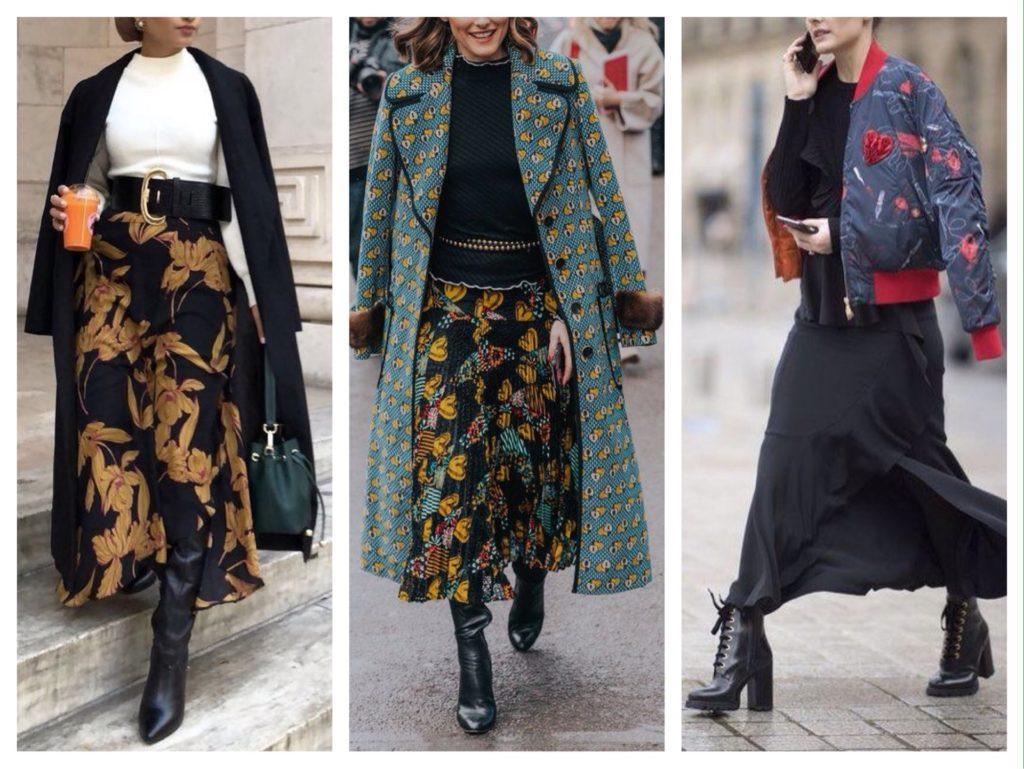 длинные струящиеся юбки зимой