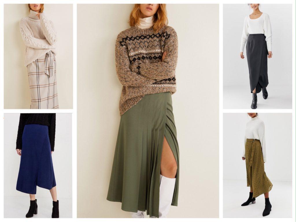 длинные юбки зимние образы